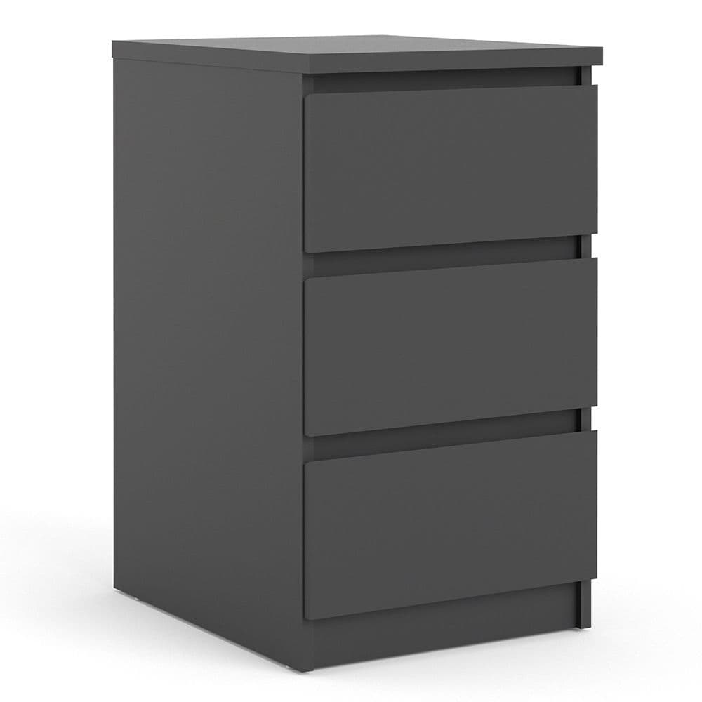 Enzo Bedside - 3 Drawers in Black Matte